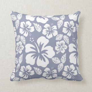 Gray-Blue Hawaiian Tropical Hibiscus Cushion