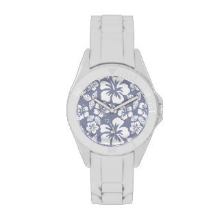 Gray-Blue Hawaiian Tropical Hibiscus Watch