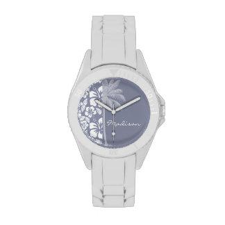 Gray-Blue Hawaiian Tropical Hibiscus; Palm Wrist Watches