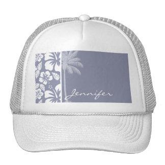 Gray-Blue Hawaiian Tropical Hibiscus; Palm Trucker Hat