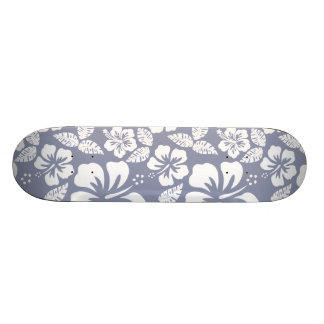 Gray-Blue Hawaiian Tropical Hibiscus Skate Deck
