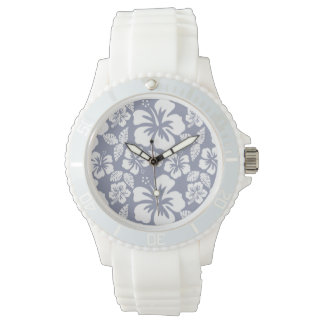 Gray-Blue Hawaiian Tropical Hibiscus Watch