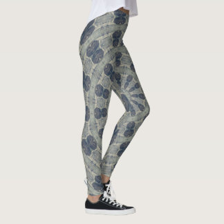 Gray Blue Kaleidoscope Leggings Yoga Pants