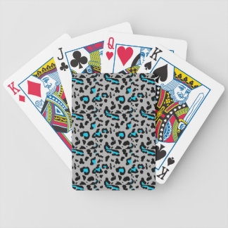 Gray & Blue Leopard Print Bicycle Playing Cards