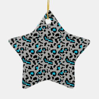Gray & Blue Leopard Print Christmas Ornament