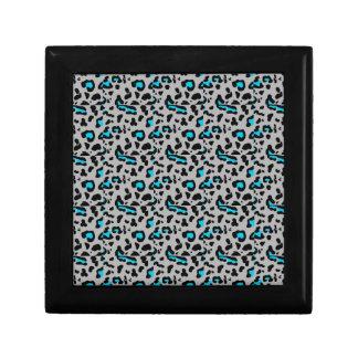 Gray & Blue Leopard Print Gift Box