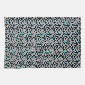 Gray & Blue Leopard Print Tea Towel