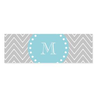 Gray Blue Modern Chevron Custom Monogram Business Cards