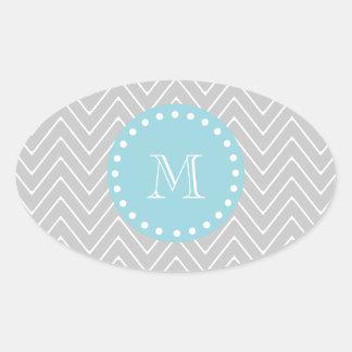 Gray & Blue Modern Chevron Custom Monogram Oval Sticker