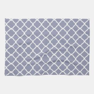 Gray-Blue Moroccan Quatrefoil Hand Towel