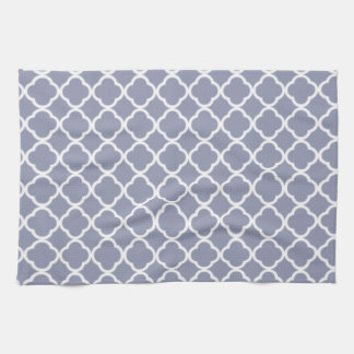 Gray-Blue Moroccan Quatrefoil Tea Towel