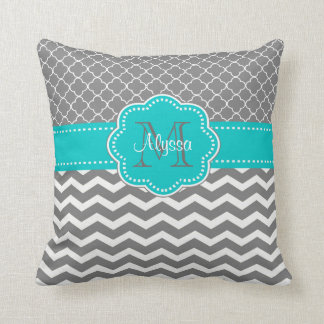Gray Blue Quatrefoil Chevron Personalized Throw Pillow