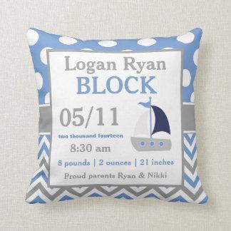 Gray Blue Sailboat Baby Announcement Pillow