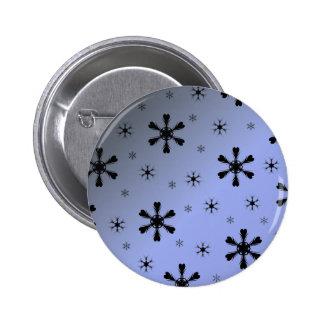 Gray Blue Snowflakes Button
