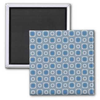 Gray Blue Squares and Circles Retro Look Magnet