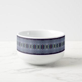gray blue stripe soup mug