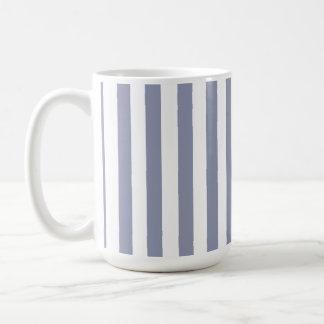 Gray-Blue Vertical Stripes; Striped Basic White Mug