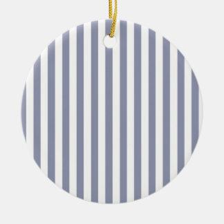 Gray-Blue Vertical Stripes; Striped Round Ceramic Decoration