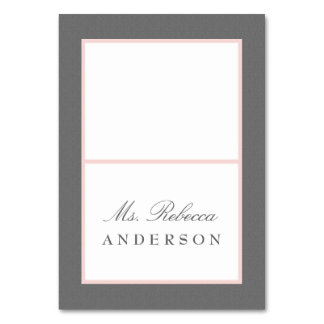 Gray & Blush Pink Elegant Wedding Place Card Table Cards