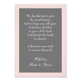 Gray & Blush Pink Wedding Donation Note Card