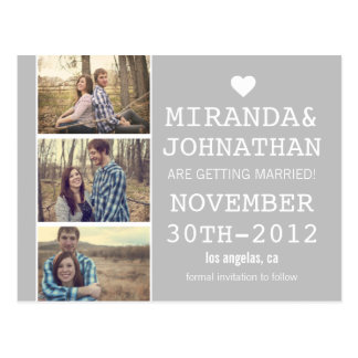 Gray Bold Photo Strip Save The Date Post Cards