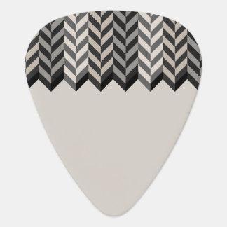 Gray Bordered Herringbone Stripes Pattern Guitar Pick