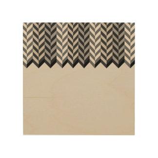 Gray Bordered Herringbone Stripes Pattern Wood Print