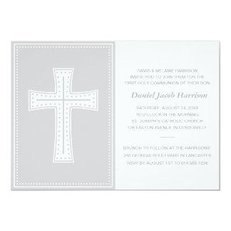 Gray Boys First Communion 13 Cm X 18 Cm Invitation Card