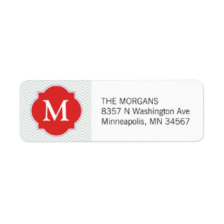 Gray & Brown Madder Modern Chevron Custom Monogram Return Address Label
