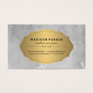 Gray Brushed Elegant Gold Label Appointment Card