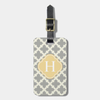 Gray & Buff Modern Moroccan Quatrefoil Monogram Luggage Tag