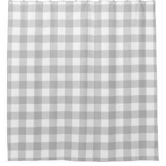 Gray Buffalo Plaid Checkered Pattern Shower Curtain