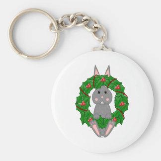 Gray Bunny And Christmas Wreath Key Chains