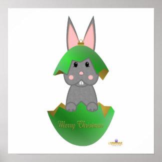 Gray Bunny Green Christmas Ornament Merry Christma Poster