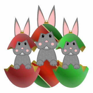 Gray Bunny In A Christmas Ornaments Photo Sculpture Decoration