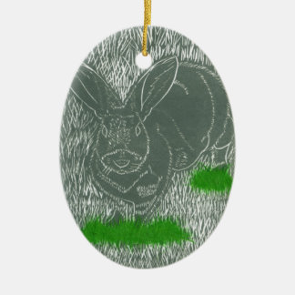 Gray Bunny Rabbit In The Grass Holiday Ornament