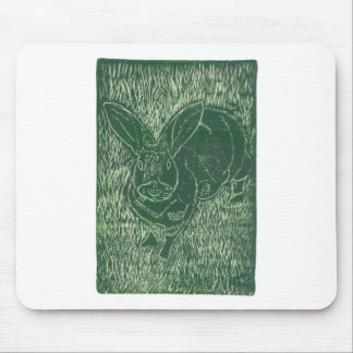 Gray Bunny Rabbit In The Grass Mouse Mat