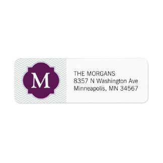Gray & Burgundy Modern Chevron Custom Monogram Return Address Label