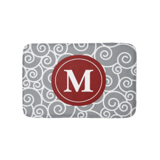 Gray burgundy Swirls Monogram Bathmat