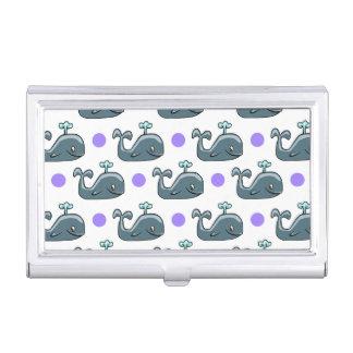 Gray Cartoon Whale, Purple Polka Dots Business Card Holder