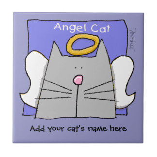 Gray Cat Angel Personalize Tile