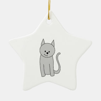 Gray Cat Cartoon. Christmas Ornament
