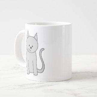 Gray Cat Cartoon. Jumbo Mug