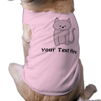 Gray Cat Cartoon. Sleeveless Dog Shirt