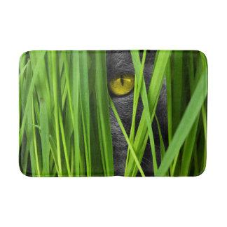 Gray Cat Peering Through Green Grass Bath Mat