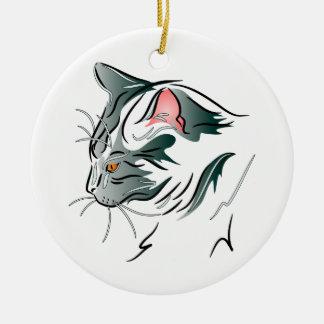 Gray Cat Profile Round Ceramic Decoration