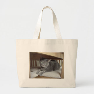 Gray Cat/Russian Blue Large Tote Bag