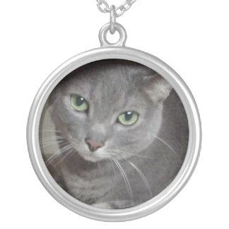 Gray Cat Russian Blue Silver Plated Necklace