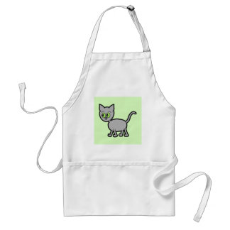 Gray Cat with Green Eyes. Standard Apron