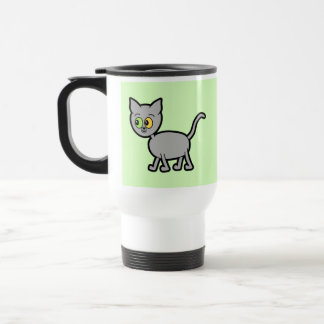 Gray Cat with Odd Eyes. Travel Mug